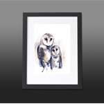 Tasmanian Masked Owl Watercolour A4  Print