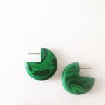 MARBLEOUS Malachite Green 3|Quarter Studs