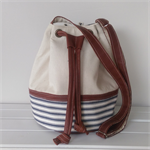 Bucket Bag, Cream and Leather