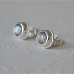 Labradorite & Sterling Silver stud earrings.