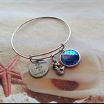 Mermaid Charm Word Disc Adjustable Silver Plated Bangle Bracelet Jewellery
