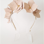Dusk Pink & Gold Leather Crown,Headband, Leather Flower Headpiece,  Fascinator
