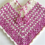 Girls Hand Crochet Poncho   Toddler   Pure Wool   Pink   Size 1 - 3 Years