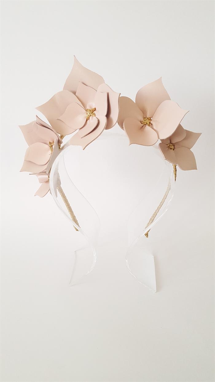 Dusk Pink Gold Leather Crownheadband Leather Flower Headpiece