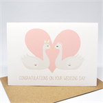 Wedding Card Congratulations - 2 Swans with heart - WED044