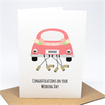 Wedding Card Congratulations - Bridal Car Just Married - WED047