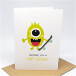 Birthday Card Boy - Monster with Skateboard - HBC214
