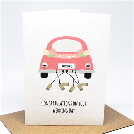 Wedding Card Congratulations - Bridal Car Just Married - WED047