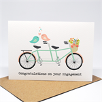 Engagement Card - Tandem Bike with Love Birds and Flowers - ENG026