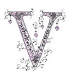 Cute Floral Letter V A4  Print Violet Victoria Viola