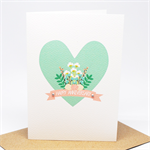 Anniversary Card / Wedding Anniversary - Heart with Flowers and Banner - HWA017
