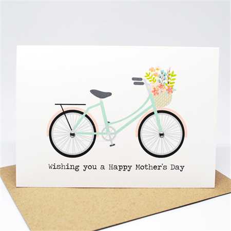 Mother's Day Card - Mint and Coral Bicycle with Flowers - HMD015