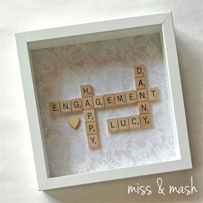 custom made wedding engagement name frame personalised scrabble art gift present - Engagement Picture Frame