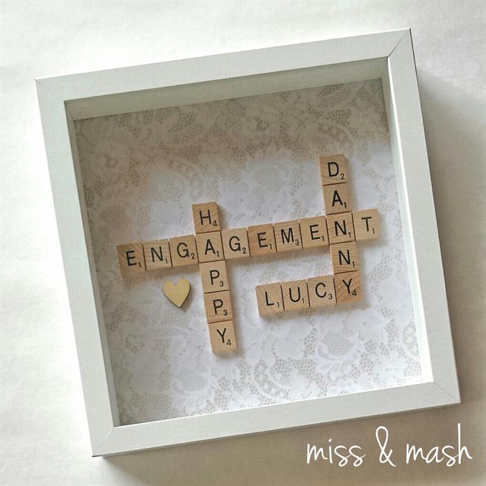 custom made wedding engagement name frame personalised scrabble art gift present - Name Frame