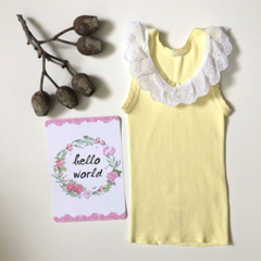 SIZE 00 Yellow Lace Collared Singlet - baby girl ruffle tank, summer, frill