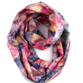 Cotton Summer Loop Scarf with Roses. Floral Infinity Scarves