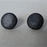 Black sparkle stud earrings, black studs, 3 sizes, surgical steel, FREE postage