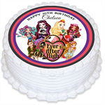 Ever After High Personalised Round Edible Icing Cake Topper - PRE-CUT