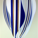 New Large Hot Air Balloon Original Mobile, Vibrant Blue, White, Gold colours
