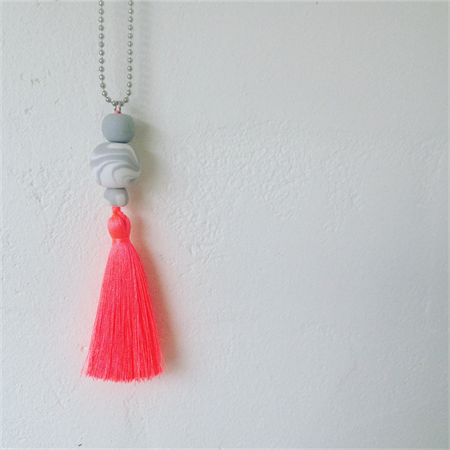 MARBLEOUS Grey + White Marble Necklace w/ Neon Pink tassle