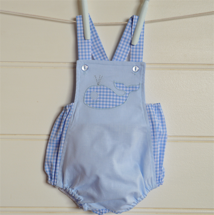 Boys Gingham Rompers Vintage Style Baby Boys Clothes Whale
