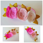 """""""Ashlyn"""" ombre felt flower headband in shades of pink and white"""