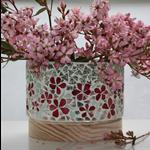 Floral Vase or Candleholder in mosaic