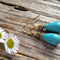 Turquoise Gemstone & Antique Gold Tibetan Bead Earrings