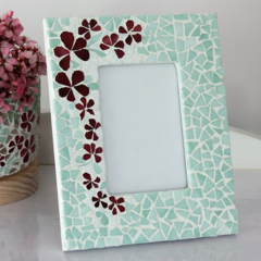 Mosaic Photo frame in pink and green
