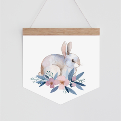 Wall Banner - floral watercolour Bunny Rabbit. Wall hanging.