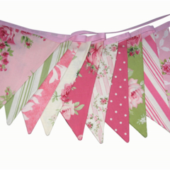 Barefoot Roses Pink & Green Flag Bunting. Garden Party . Girls Decoration
