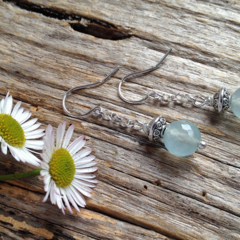 Brazilian Aquamarine Gemstone Sterling Silver Drop Earrings