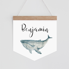 Personalised Banner - watercolour whale. Wall hanging.
