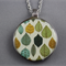 Upcycled/recycled vintage spoon resin pendant necklace, leaf, leaves, print