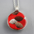 Upcycled/recycled vintage spoon resin pendant necklace, red, flower, print