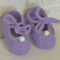 0-6 mths Baby, FREE POST , Cotton-Wool, Tied Mary-Jane Style Shoes, Lavender