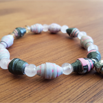 Pansies AYA Bracelet - Handcrafted Beads - Great Christmas Gift