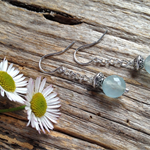 Brazilian Aquamarine Gemstone Sterling Silver Drop Earrings