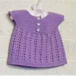Hand Knit, NB - 6m, Wool, Lacy Top / Shirt, Lavender