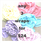 Set of 3 Baby Wraps / Swaddle Cloths – your choice of colours