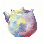 Watercolour Teapot Silhouette, A5 Original Watercolour Painting, Kitchen Decor