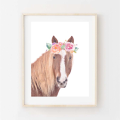 Evie Horse - A4 print. Pony wearing flower crown. Watercolour mixed medium.