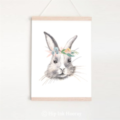 Tilly Rabbit - Children's art. Floral Bunny. A4 Print
