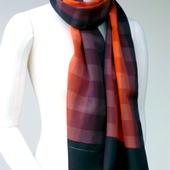 Checked Silk Scarf.  Coral Reds and Black. Reclaimed from vintage silk kimono.