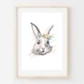 Tilly Rabbit - Children's art. Floral Bunny. A4 Print