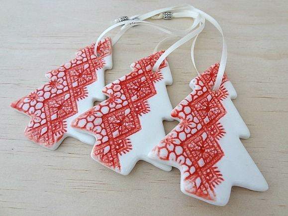 Christmas Decorations Ornaments Red Ceramic Christmas Trees