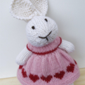Emily the Knitted Bunny Rabbit Toy with Pink Queen of Hearts Party Dress