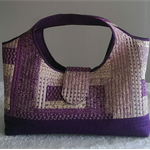 Purple & Beige Tote/Nappy Bag