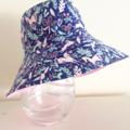 Girls summer hat in blue unicorn fabric