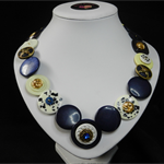 Blue Elegance button necklace